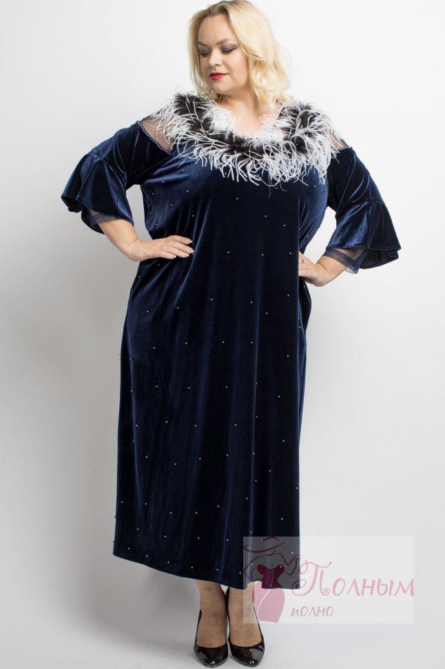 afd238e6c103e67 23-9408 Платье вечернее бархатное с украшением из перьев PARAMORE