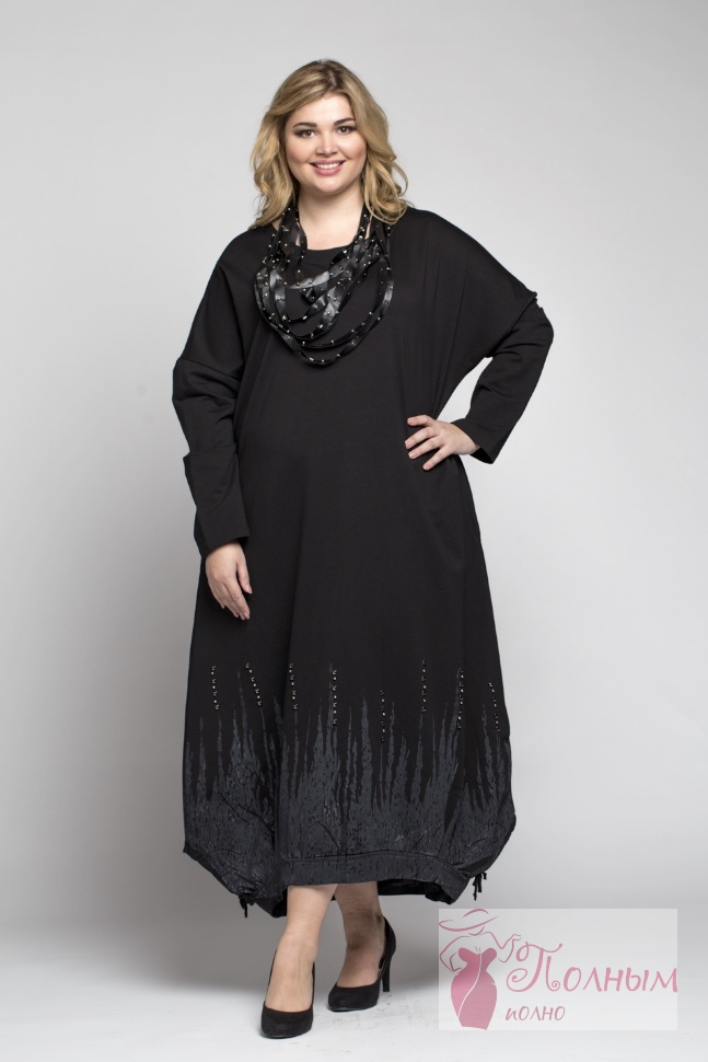 9e8e610e37c 25-0228 Платье плотный хлопок-трикотаж DARKWIN большого размера 52 ...