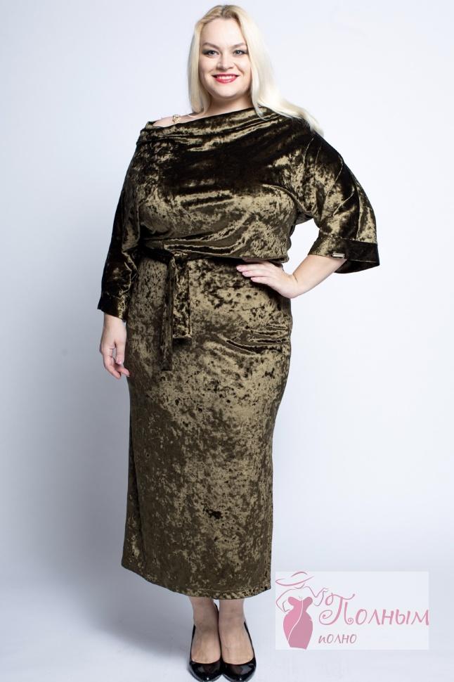 71cf5a9f8ddc517 24-9971 Платье EBERRO бархат-велюр украшение на плече