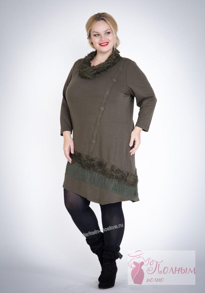 85e615a0498 25-9671 Платье-туника повседневное теплое Lissmore большого размера ...