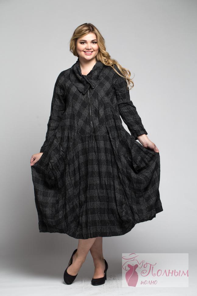 c82d838e787 25-0247 Платье теплая ткань LISSMORE в клетку большого размера 52-54 ...