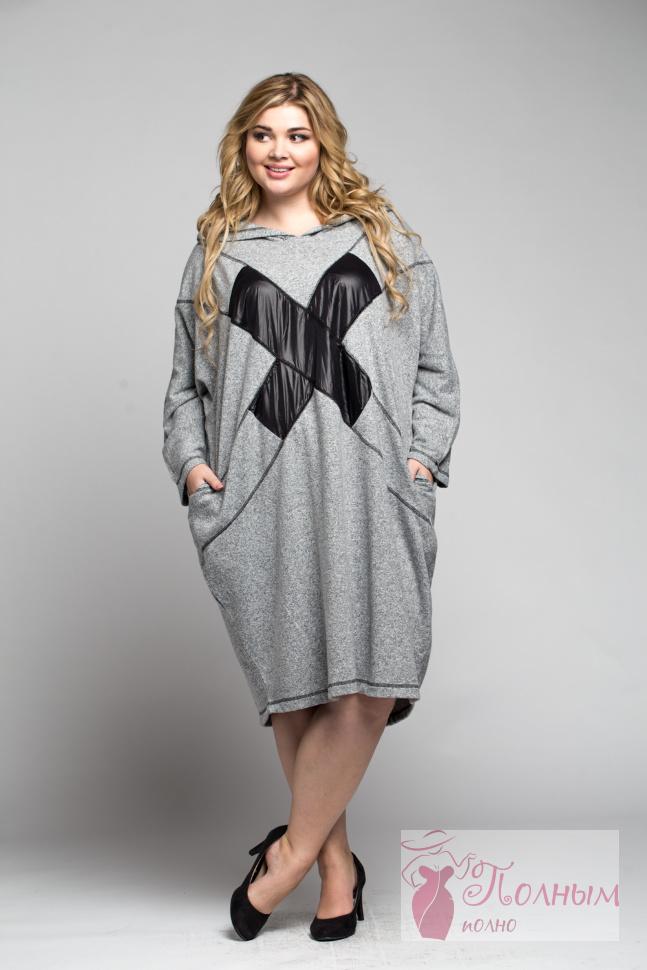 83cab6f2968 25-0263 Платье - туника DIVAS с капюшоном мягкий трикотаж большого ...