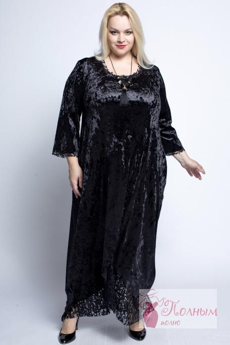 d97ffad1125f17a 23-9413 Платье бархатное MANGA низ-кружева